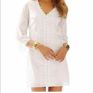 Lilly Pulitzer White Dress Sz Large Brooke V Neck